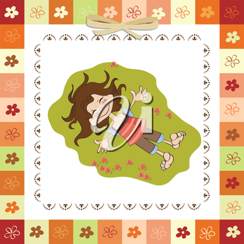 Royalty Free Clipart Image of a Happy Little Girl Lying on Grass
