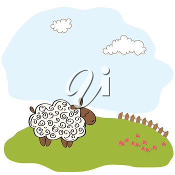 Royalty Free Clipart Image of a Sheep on a Hill