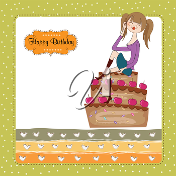 sexy young woman sitting on a big cake, vector illustration