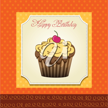 cute happy birthday card with cupcake. vector illustration