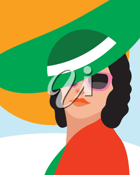 Fashion woman with hat . Art portrait.    Flat design. Vector