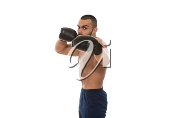Young Muscular Sports Guy In Gloves With A Naked Torso Boxing - Isolated On White Background