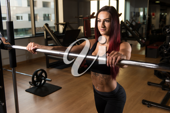 Woman Preparing To Working Out Legs With Barbell In A Gym - Squat Exercise