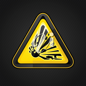 Hazard warning triangle explosive sign on a metal surface