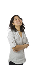 Asian women wearing business causal clothing and laughing on white background