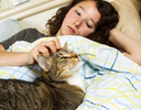 Photo of family cat and young girl waking up in the morning in bed with both their eyes open