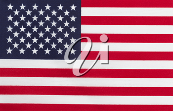 Close up of United States of America flag in horizontal layout. Cloth Texture.