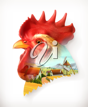 Rooster head, double exposure vector illustration