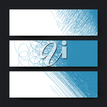 Collection of three horizontal banner designs, with creative different doodles, vector illustration, EPS10