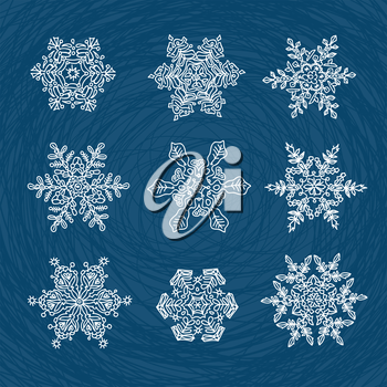 Macro-structure of real snowflakes, transformed and drawn as ornamental usable shapes. Set of nine forms.