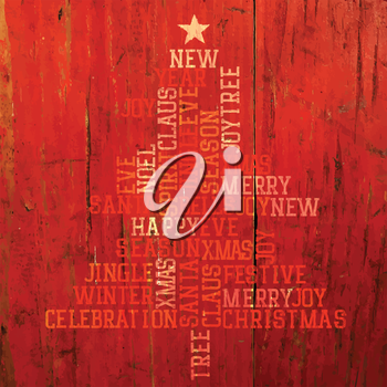 Xmas Tree Words Composition On Red Background. Vector