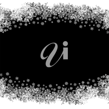 Christmas Border silhouette. Isolated center area for greeting. Black and white, vector.