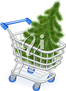 Christmas tree in a shopping cart on a white background