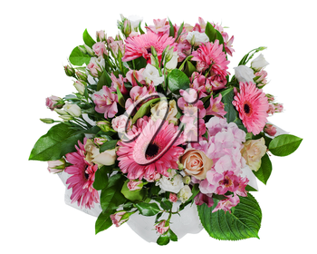 colorful floral bouquet of roses, lilies and orchids isolated on white background