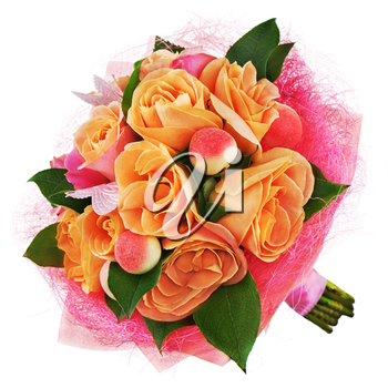 Colorful flower bouquet from roses isolated on white background. Closeup.