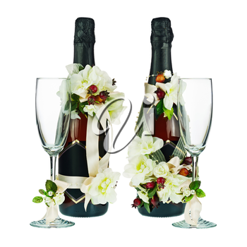 Champagne Bottles and Glass with Wedding Decoration of Flower Arrangements Isolated on White Background.