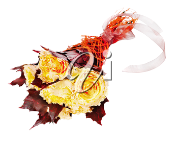 Colorful autumn flower bouquet from yellow roses and maple leaves isolated on white background.