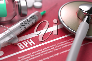 BPH - Printed Diagnosis with Blurred Text on Red Background and Medical Composition - Stethoscope, Pills and Syringe. Medical Concept. 3D Render.