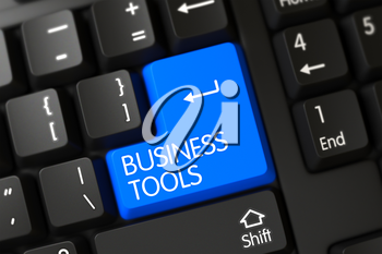 Business Tools Written on a Large Blue Button of a Modernized Keyboard. 3D.