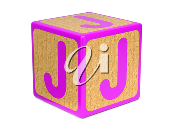 Letter J on Pink Wooden Childrens Alphabet Block  Isolated on White. Educational Concept.