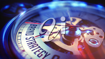 Business Concept: Brand Strategy Text. on Vintage Pocket Clock Face with Close View of Watch Mechanism. Time Concept with Selective Focus and Vintage Effect. 3D Render.