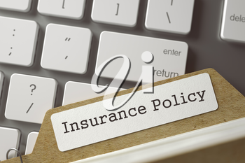 Insurance Policy written on  Card File Overlies Computer Keyboard. Archive Concept. Closeup View. Toned Blurred  Illustration. 3D Rendering.
