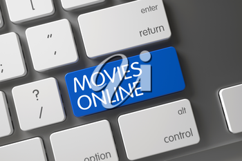 Movies Online Concept: Modern Keyboard with Movies Online, Selected Focus on Blue Enter Button. 3D Illustration.