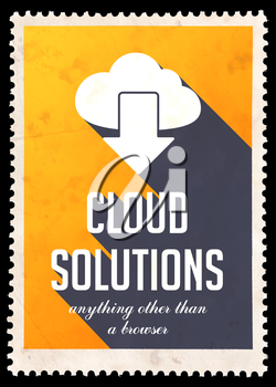 Cloud Solutions on Yellow Background. Vintage Concept in Flat Design with Long Shadows.
