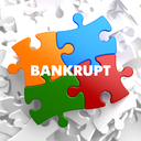 Bankrupt on Multicolor Puzzle on White Background.