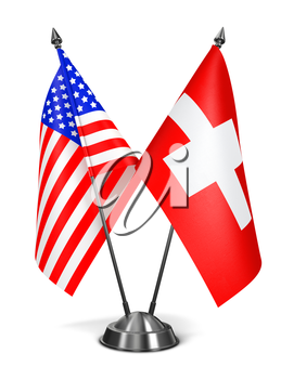 USA and Switzerland - Miniature Flags Isolated on White Background.