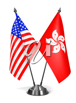 USA and Hong Kong - Miniature Flags Isolated on White Background.