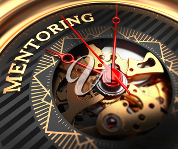 Mentoring on Black-Golden Watch Face with Closeup View of Watch Mechanism.