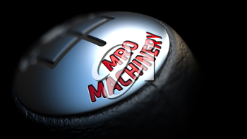 MRO Machinery. Control Concept. Gear Lever on Black Background. Close Up View. Selective Focus. 3D Render.
