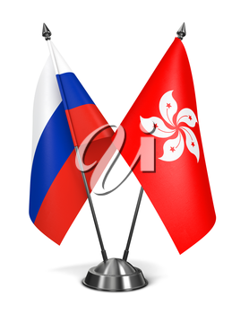 Russia and Hong Kong - Miniature Flags Isolated on White Background.