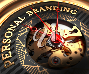 Personal Branding on Black-Golden Watch Face with Closeup View of Watch Mechanism.