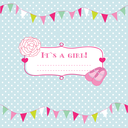 Royalty Free Clipart Image of an It's a Girl Card