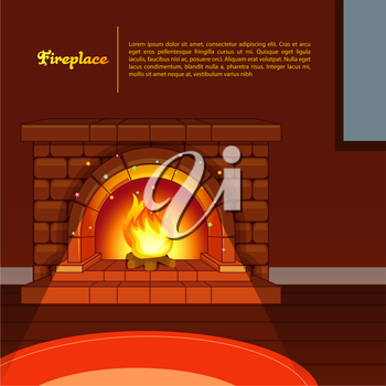 Vector illustration of Fireplace image in room