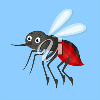 Vector illustration of small gnat flying on blue background