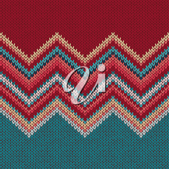 Seamless knitting pattern with wave ornament in red blue white yellow color