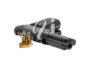 Pistol and Bullets isolated on a white background