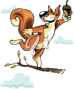 Happy squirrel dancing on the tree branch with the acorn.