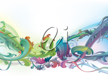 The vector background with floral  motifs.Editable vector EPS v9.0