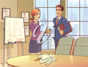 The young businessman and the businesswoman are glad to sign the contract and shaking the hands in the meeting room.