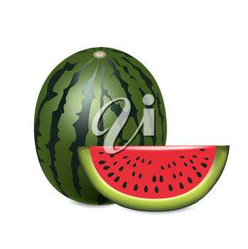 watermelon with slice isolated on white