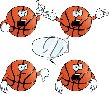 Royalty Free Clipart Image of Angry Basketballs
