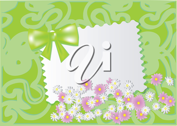 paper card with wild flowers. 10 EPS