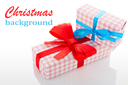 gift boxes with red and blue bows, isolated on white background