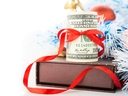 Money, gift box and Christmas decorations on white background.