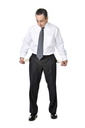 Broke business man in suit isolated on white background