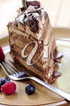 Slice of chocolate mousse cake served on a plate